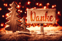Sign, Retro Tree, Snow, Calligraphy Danke Mean Means Thank You