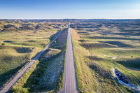 highway in Nebraska Sandhills - aerial view