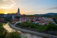 Cesky Krumlov at sunset with skyline in Czech Republic