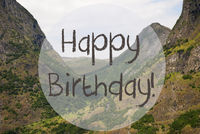 Valley And Mountain, Norway, Text Happy Birthday