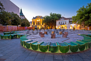 Town of Subotica square evening view