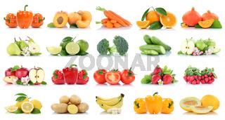 Früchte Obst und Gemüse Sammlung Apfel Birnen Orange Bananen Erdbeeren Farben frische Freisteller freigestellt isoliert