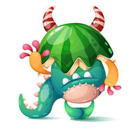 Monster with a watermelon on his head.