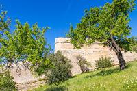 Alte Stadtmauern von Lagos bei einem kleinen Park, Lagos, Algarve, Portugal, Europa