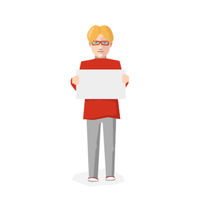 Man with blank poster, flat character isolated on white