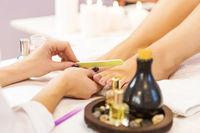 Woman feet treatment in luxury beauty salon