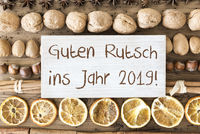 Christmas Food Flat Lay, Guten Rutsch Means Happy New Year 2019