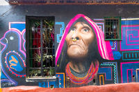 Bogota La Candelaria district   home facade with murals paintings representing a native
