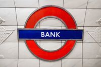 London, United Kingdom - May 12, 2019: Metro station sign Bank on the Central line in London, UK.