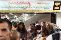 Passengers boarding metro train, Singapore