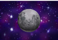 Bright realistic moon on colorful deep space background with bright stars
