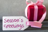 Pink Gift, Label, English Text Seasons Greetings