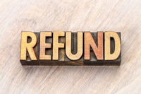 refund word abstract in wood type