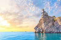 Beautiful sunrise at Swallow Nest in Crimea