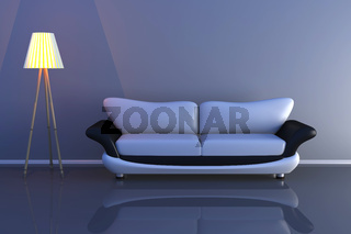 3d illustration of a lamp and a grey sofa in a dark room.