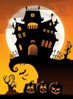 Halloween house silhouette theme 3
