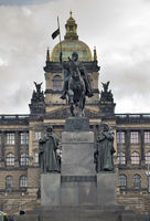 Saint Wenceslas (Svaty Vaclav) statue on Wenceslas Square  in front of the National Museum. Prague