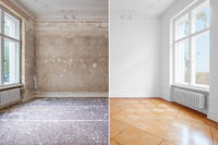 flat renovation, empty room before and after refurbishment old and new interior   -