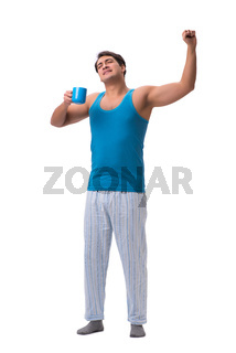 Man waking up with alarm clock isolated on white