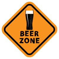 Beer Glass and Beer Zone Text. Orange Sign