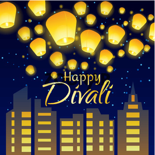 Lettering congratulation happy Divali with paper lanterns and night city