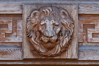 brass lion head on the door, black and white