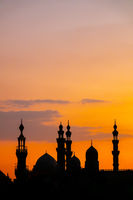 The two mosques Al-Rifa'i and Sultan Hassan in Cairo Egypt at sunset