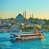 Tourist ship in the Golden Horn in Istanbul