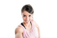 Young woman selfie portrait wearing sport wear on a white background studio shoot