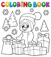 Coloring book Christmas penguin topic 3