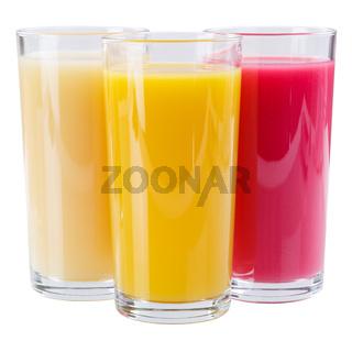 Saft Smoothie im Glas Fruchtsaft Quadrat isoliert freigestellt Freisteller