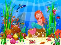 Cute joyful little mermaid in the underwater world 1