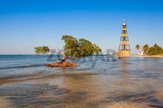Lighthouse on the Cayo Jutias beach, Cuba