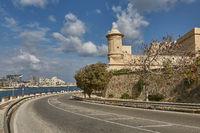 Road leading along the coastline in Valletta in Malta
