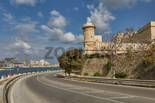Road leading along the coastline in Valletta in Malta