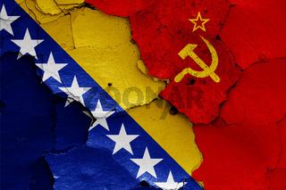 flags of Bosnia and Herzegovina and Soviet Union