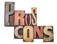 pros and cons word abstract in wood type