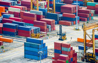 Freight containers in commercial port