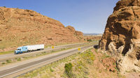Vehicle and Truck Traffic Travel Along Interstate 40 in New Mexico