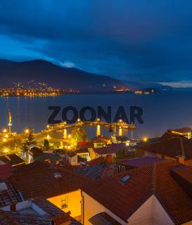 Ohrid lake city night. Macedonia