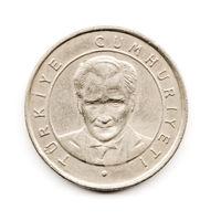 Old Turkish Coin, Ataturk Portrait on White Background