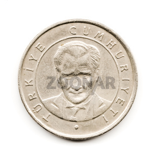 Old Turkish Coin, Ataturk Portrait on White Background