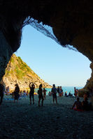Cave with the beach in the end in Vernazza