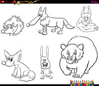 wild animal characters set coloring book