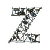 Wire low poly black metal Font Letter Z 3D