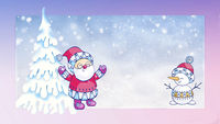 Christmas card with the image of Santa Claus and snowman.