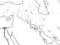 World Map of MESOPOTAMIA: Šumer, Akkad, Babylonia, Assyria, Tigris & Euphrates. Geographic historical chart of Ancient Persian Gulf coastline.