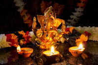 Ganesha with Diwali lights