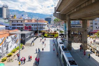 panorama of the center of Medellin from the San Antonio s metro exit