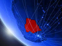 Botswana from space with network